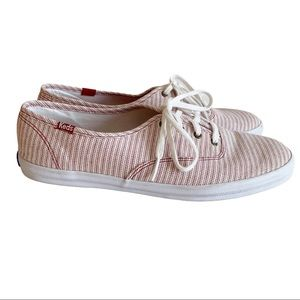Keds Sneakers Shoes Red White Stripped Canvas 10